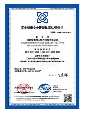 宝德职业健康中文证书